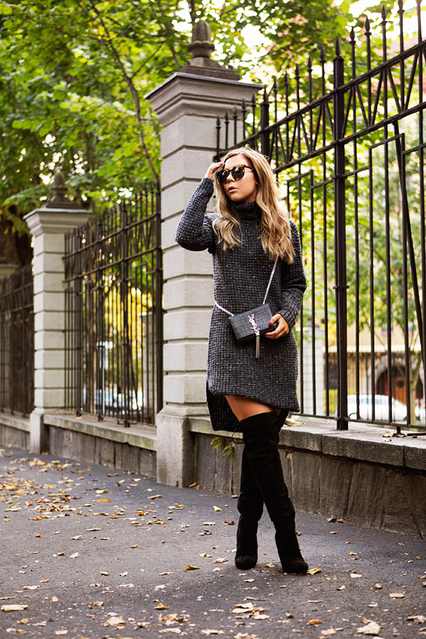 We're loving this sweater dress and over the knee boot combo!