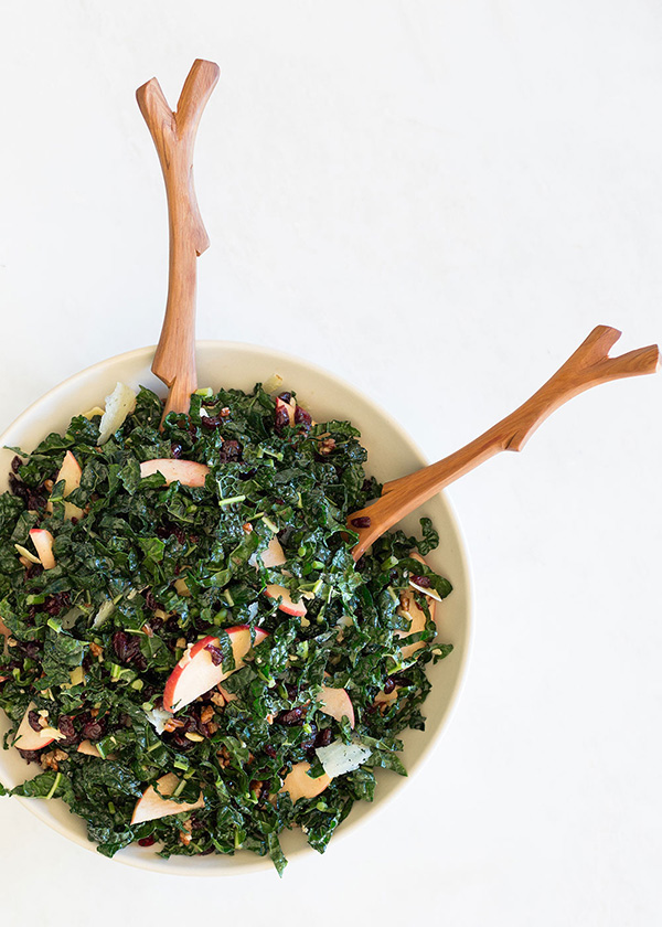 Tuscan Kale Salad with White Cheddar, Apples, Pecans and Cranberry Orange Vinaigrette