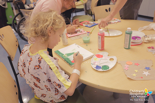 Painting picture frames at Children's Hospital Los Angeles with Lauren Conrad.