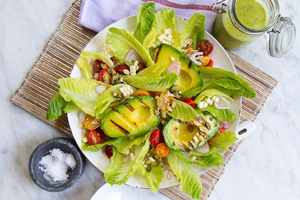 Grilled Avocado Salad with Green Goddess Dressing