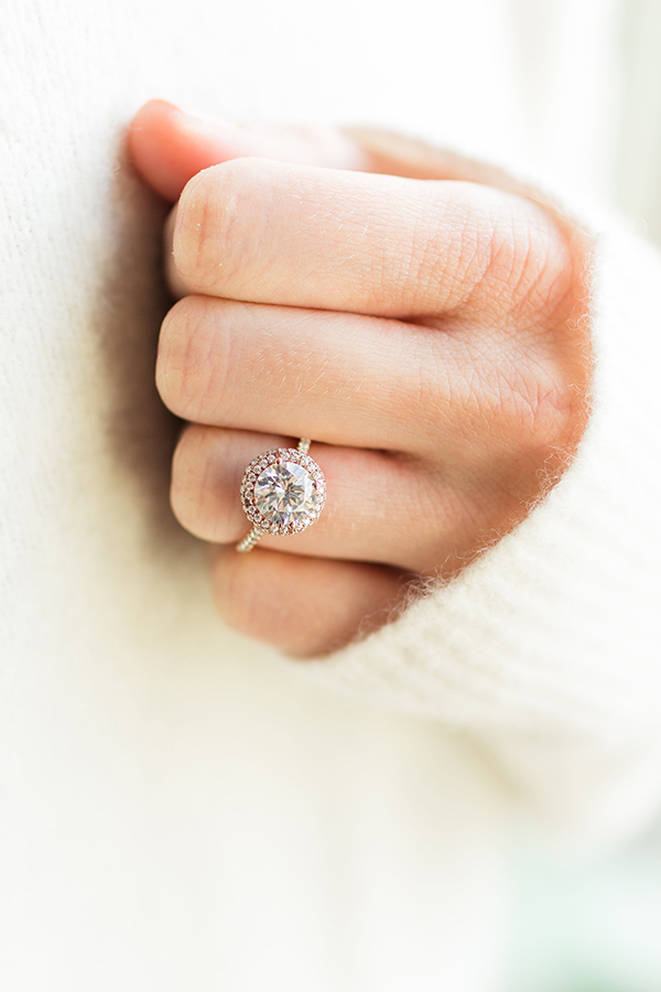 james allen round halo ring in gold and rose gold - Lauren Conrad Wedding Ring