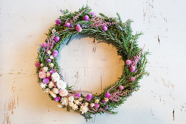 A holiday wreath made with wildflowers by LaurenConrad.com