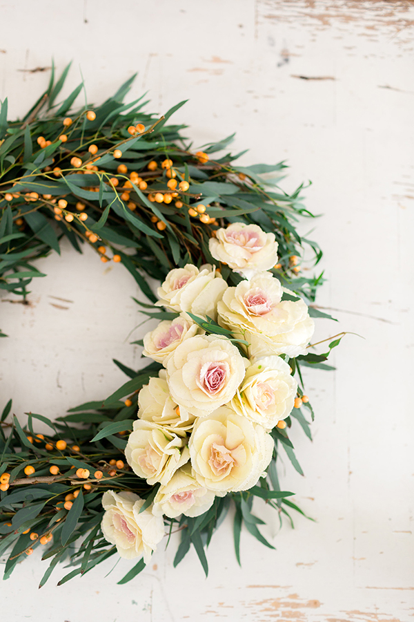 Holiday wreaths made out of fresh blooms by LaurenConrad.com