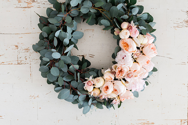 Peony and eucalyptus wreath by LaurenConrad.com