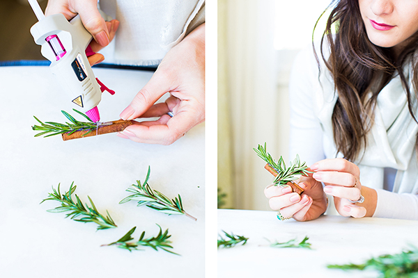 How to create holiday ornaments using cinnamon sticks and rosemary by LaurenConrad.com