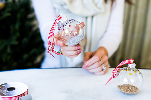 DIY Sparkly Globe Ornaments by LaurenConrad.com