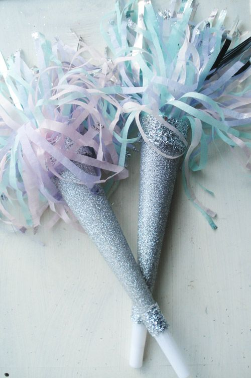 Glittery Pastel Party Horns via Such Pretty Things