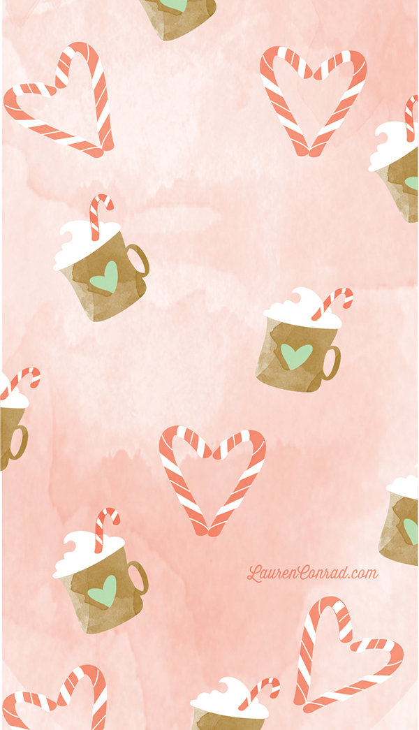 Peppermint Cocoa tech wallpaper by YellowHeartArt on LaurenConrad.com