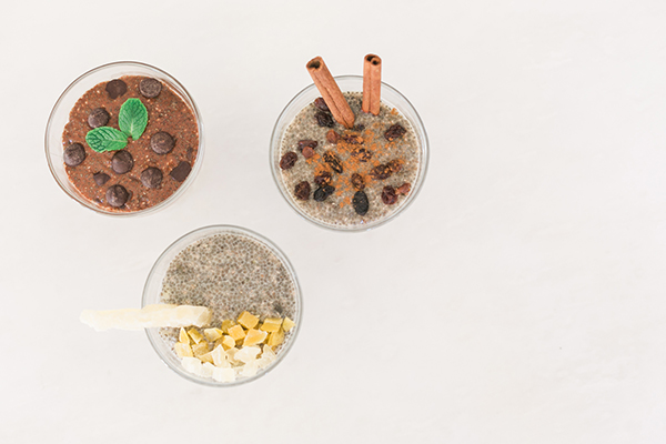 Healthy chia seed pudding, 3 ways.
