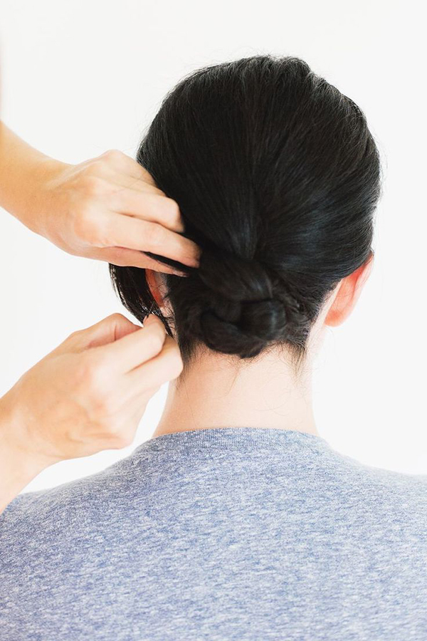 The braided bun via A Beautiful Mess.