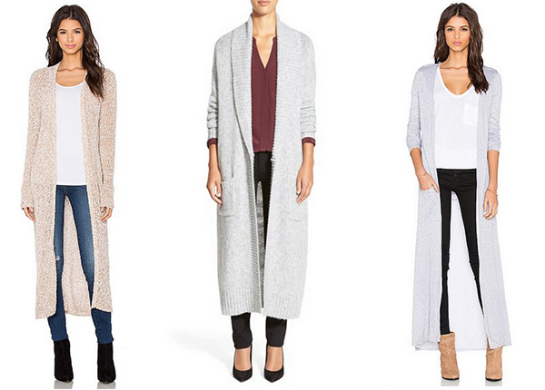 Longline cardigans in neutral colors.