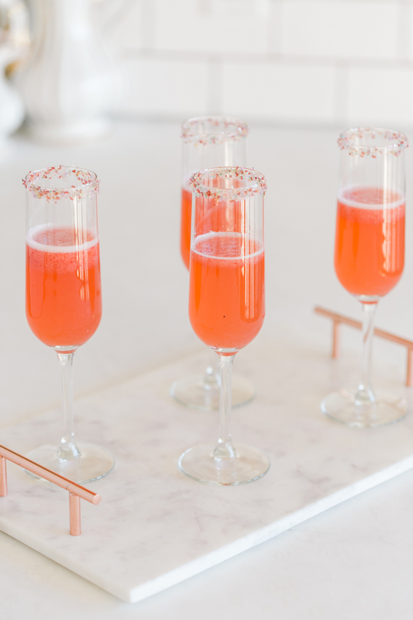 A Beautiful Strawberry Rosé Champagne Cocktail Recipe