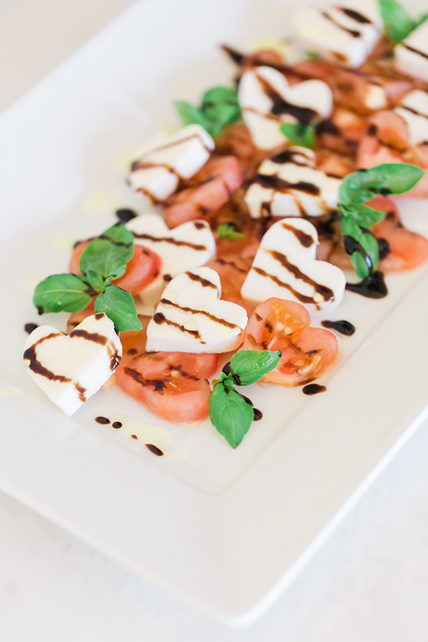 Sweetheart Caprese Salad with a Balsamic Reduction