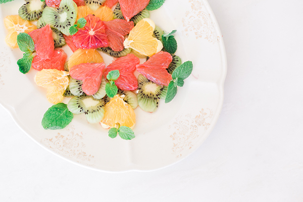 Valentine Citrus Salad With Fresh Mint Leaves