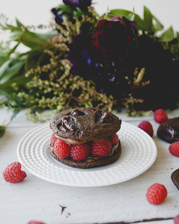 Dark Chocolate Raspberry Sandwich Cookies by LaurenConrad.com