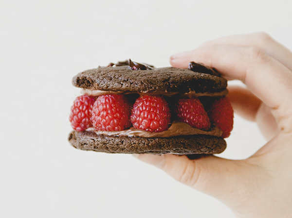 Dark Chocolate Raspberry Sandwich Cookies.