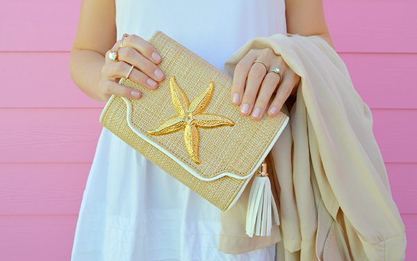 A beachy tassel clutch