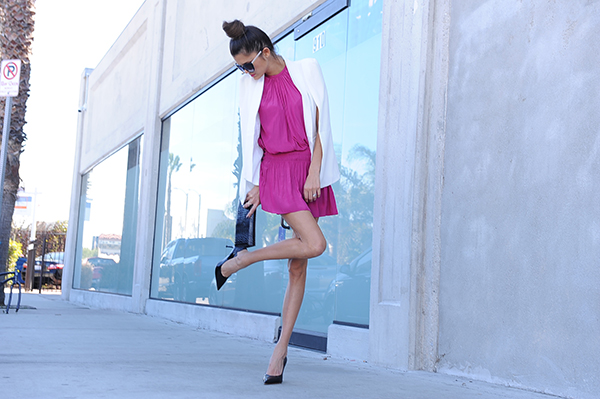 Adorable pink dress worn by the newest Chic of the Week, Carly!