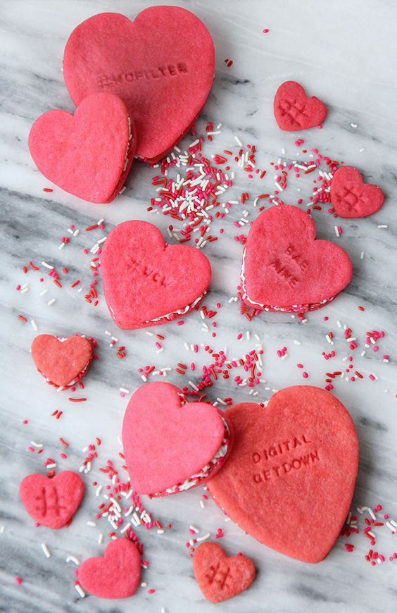 Favorite Valentine's Day Idea (Conversation Heart Cookie Sandwiches via I Spy DIY)