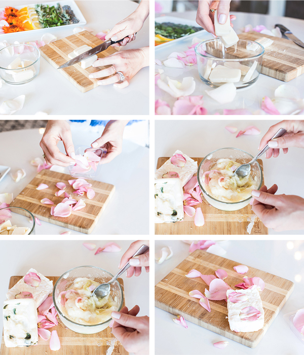 DIY rose petal soap bars