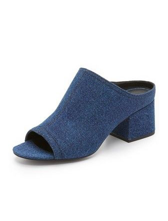 Phillip Lim 3.1 Cube Denim Open-Toe Slide Sandals