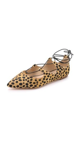 Loeffler Randal Ambra Haircalf Lace Up Flats