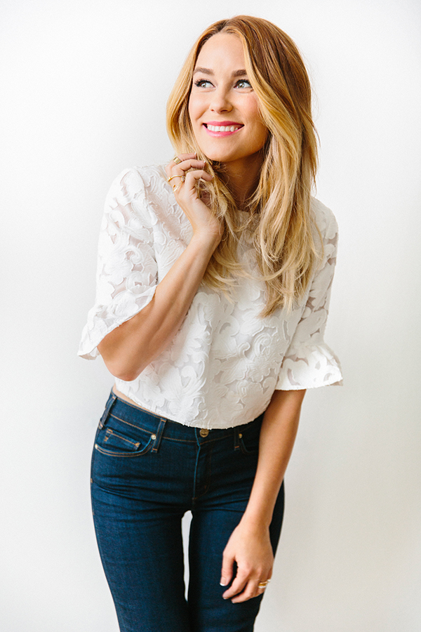 lace top and flared jeans on laurenc conrad