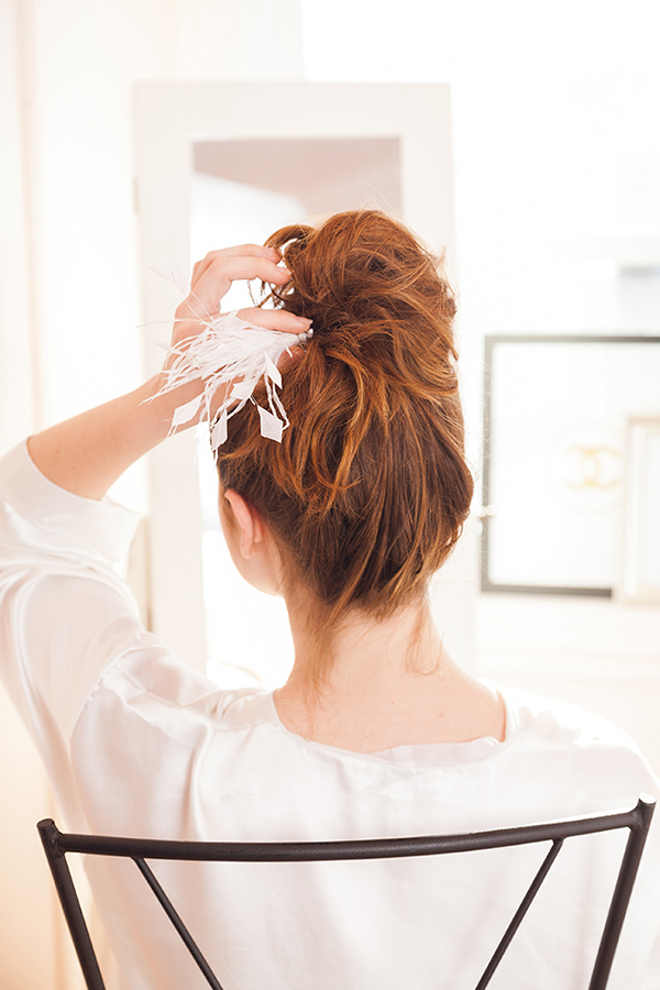 A light as a feather messy bun