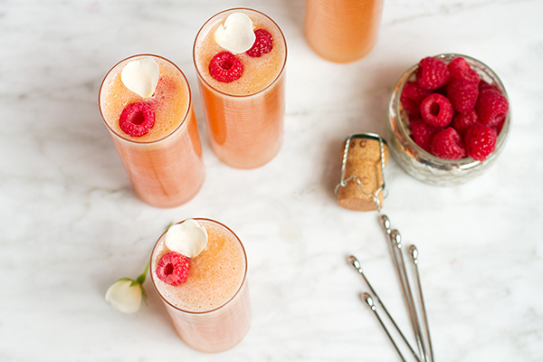 Peach Raspberry Rosé Bellini Cocktails