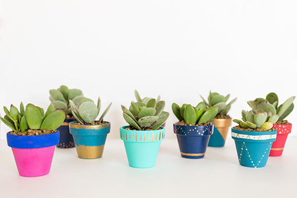 DIY Mini Painted Pots by LaurenConrad.com