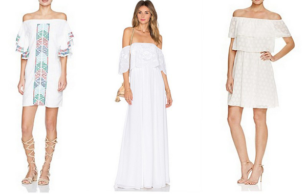 Our favorite off-the-shoulder white dresses