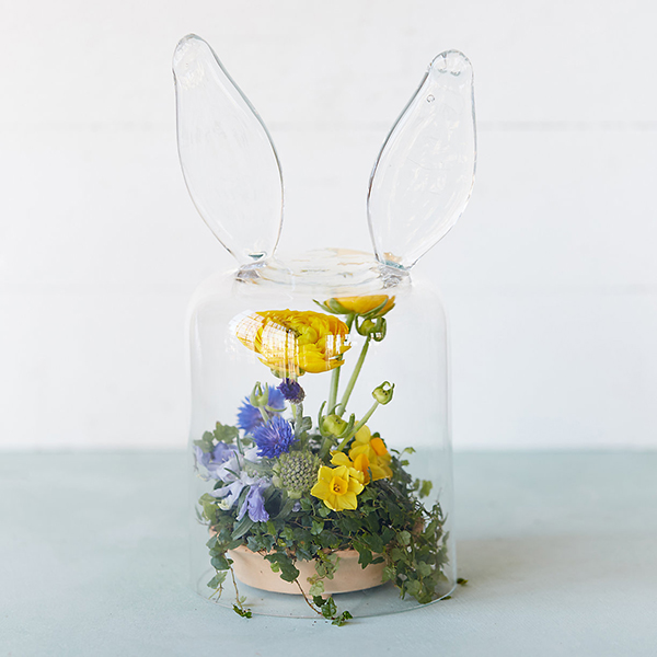 Favorite Festive Décor (this Bunny Ear Cloche from Terrain looks adorable with spring blooms beneath it)
