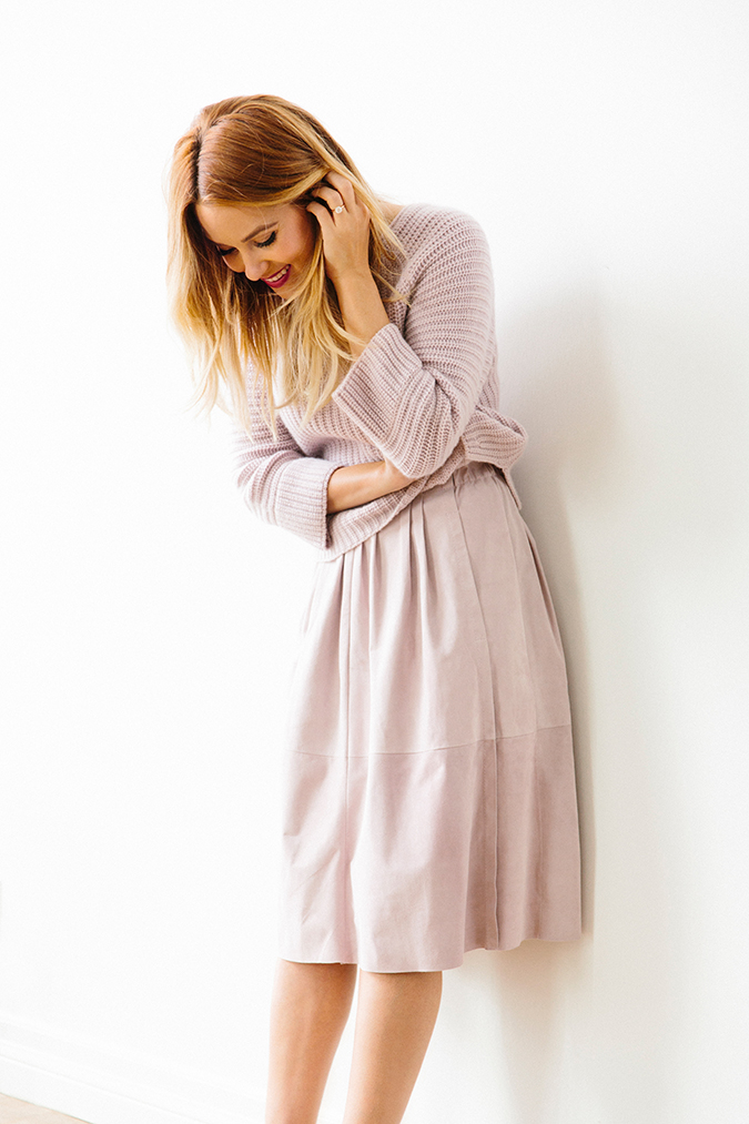 Lauren Conrad modeling one of her favorite pastel lavender looks