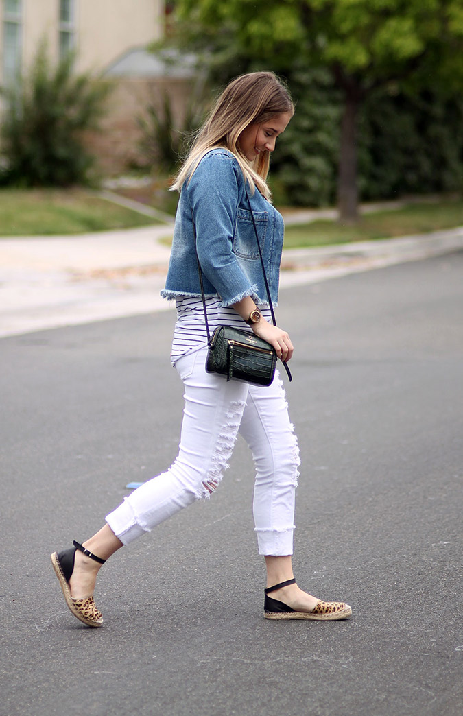 Get Amanda's chic frayed denim look