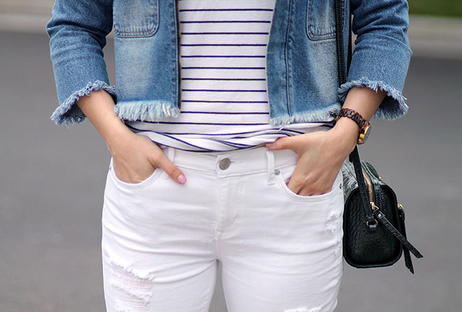 Get inspired by Amanda's chic frayed denim