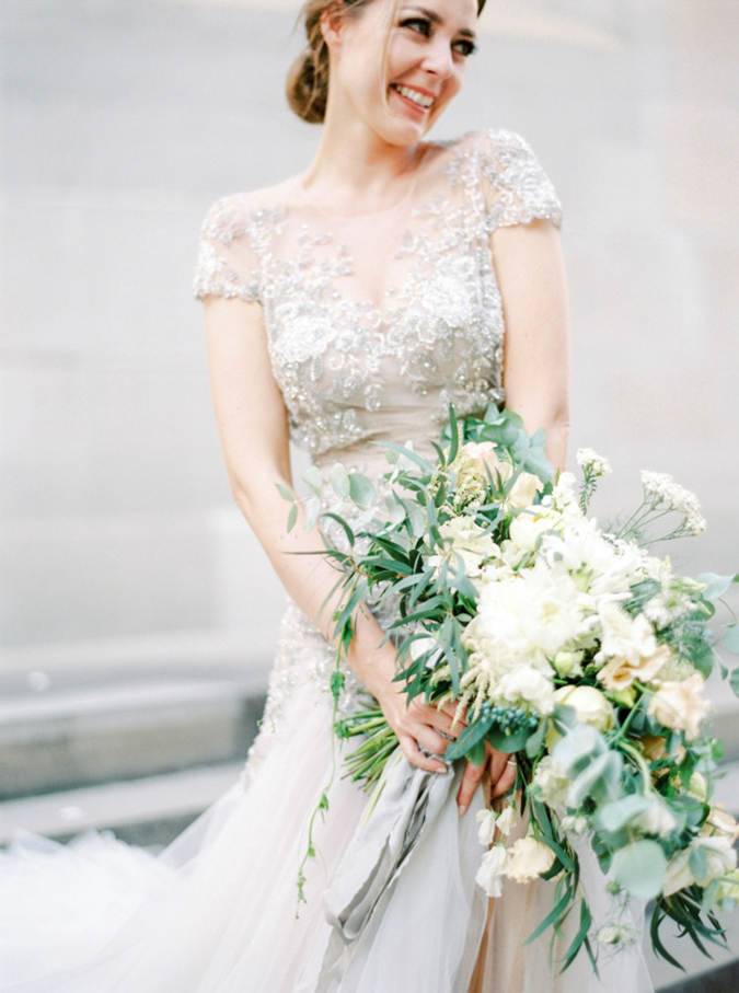 Dreamy dove gray bridal gown