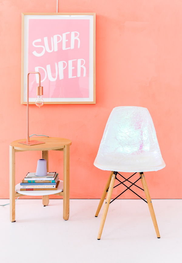 Get this darling holographic chair DIY on LaurenConrad.com