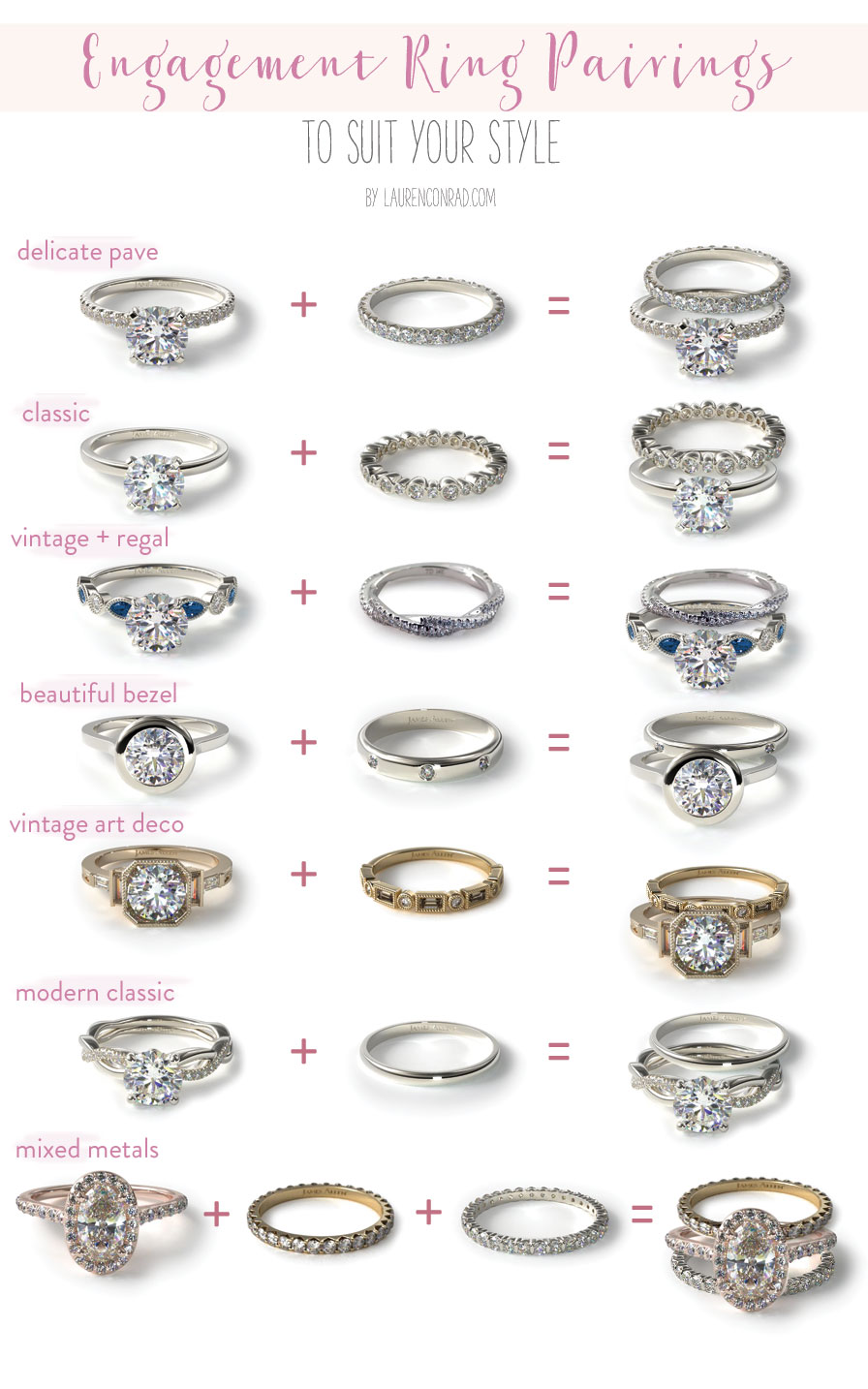7 Different Engagement + Wedding Band Pairings // Find your perfect ring pairing with Team LC and James Allen