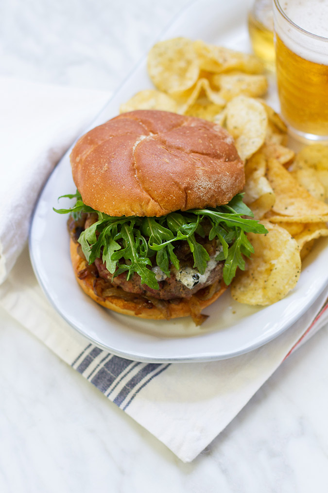 Father's Day Recipe: 50/50 Burgers with Whiskey Onions and Blue Cheese