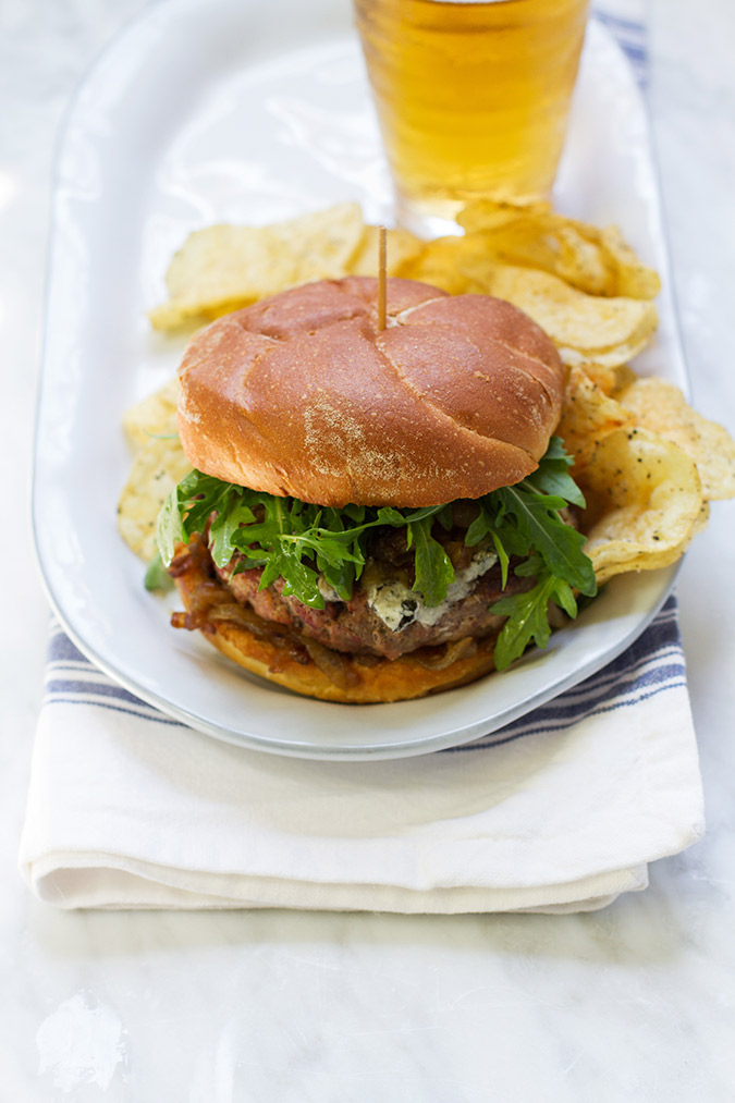 The perfect recipe for Father's Day: 50/50 Burgers with Whiskey Onions and Blue Cheese