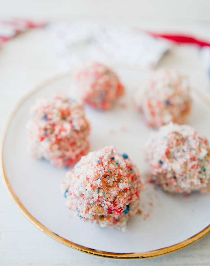 Get the recipe for these red-white-and-blue cake truffles on LC.com
