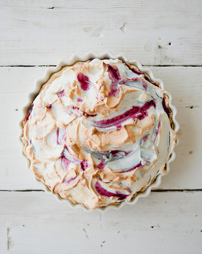 Get the recipe for this amazing Huckleberry Lemon Meringue pie