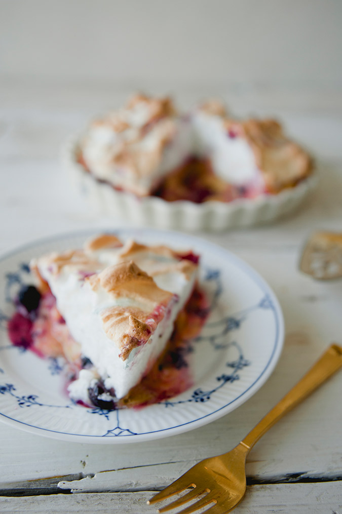 Huckleberry Lemon Meringue Pie recipe courtesy of The Kitchy Kitchen