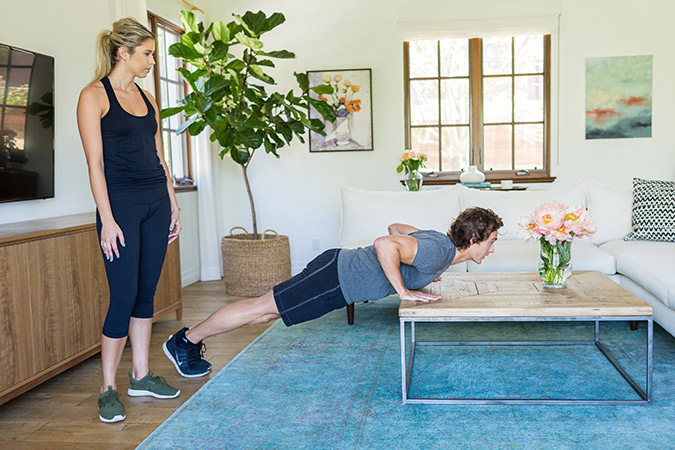 Hotel Room Workout: Coffee Table Mountain Climbers/Pushup Combo
