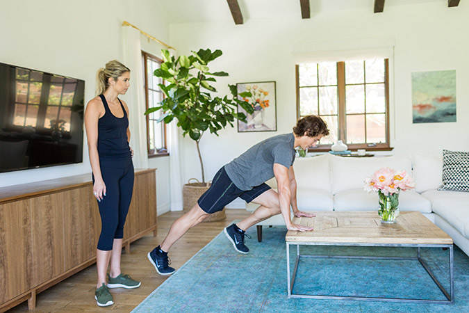 Hotel Room Workout: Coffee Table Mountain Climbers