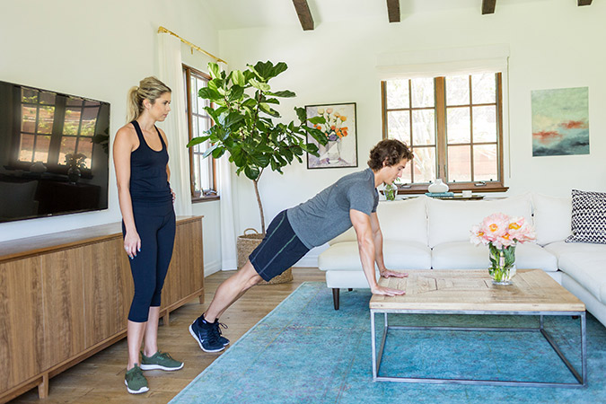 Hotel Room Workout: Coffee Table Pushups