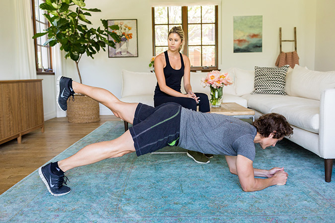 Hotel Room Workout: Plank with Leg LIfts