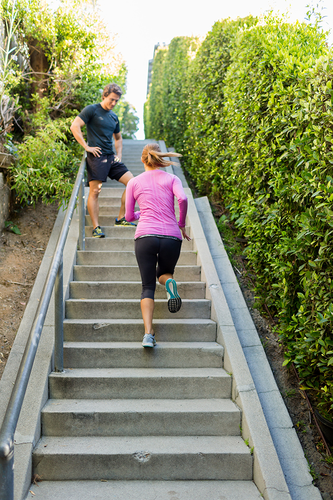 Work up a sweat with Hunter Vincent's stairway to heaven stair workout