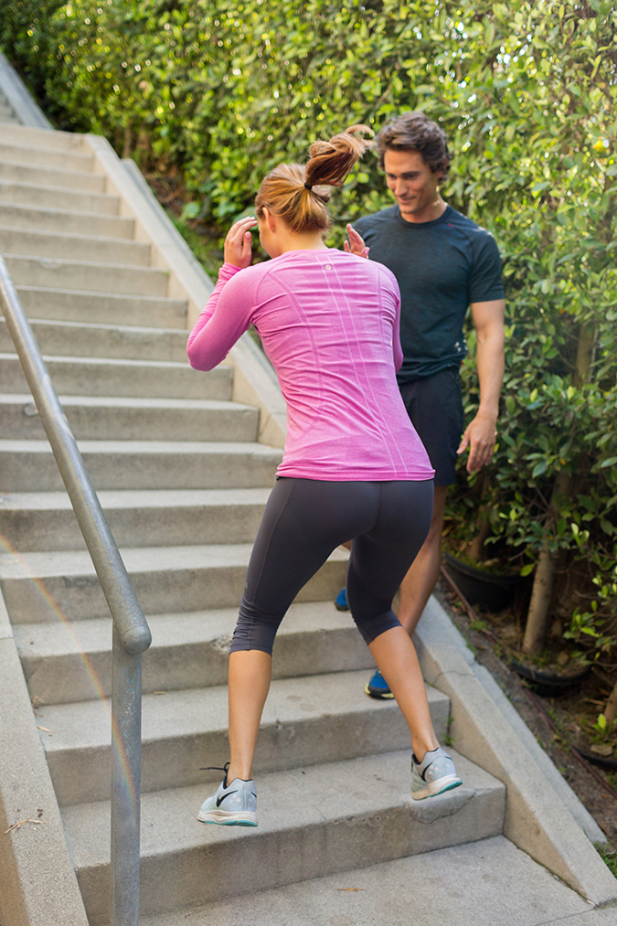 Stair bunny hops for killer legs - see the full workout on LaurenConrad.com