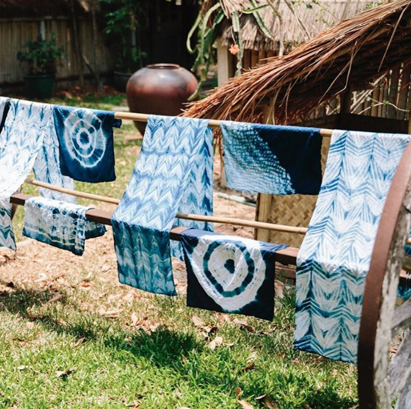 Indigo dyed fabric from Lauren's travels to Thailand with The Little Market